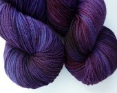 Hand Dyed Merino Sock Yarn - Superwash Fingering Weight Yarn in Deep Amethyst Colorway