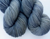 Merino Sock Yarn - Hand Dyed Superwash Merino Fingering Weight Yarn in Gray Matter Colorway