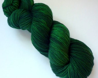 Hand Dyed Sock Yarn - Superwash Merino Fingering Weight in Emerald Isle Colorway