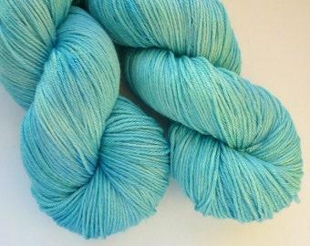 Merino Silk Sock Yarn - Hand Dyed 50/50 Merino Silk Fingering Weight in Seven Seas Colorway