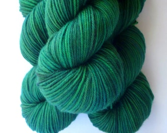 Hand Dyed Yarn - Superwash Merino Wool DK Yarn in Emerald Isle Colorway