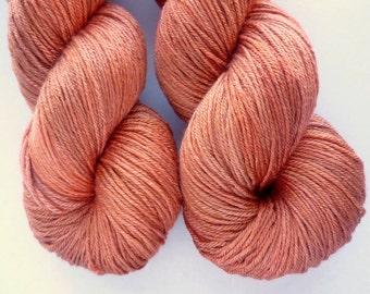 Merino Silk Sock Yarn - Hand Dyed 50/50 Merino Silk Fingering Weight in Copper Penny Colorway