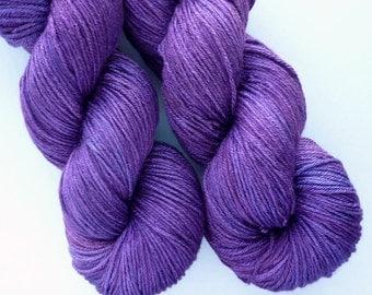 Merino Silk Sock Yarn - Hand Dyed 50/50 Merino Silk Fingering Weight in Deep Amethyst Colorway