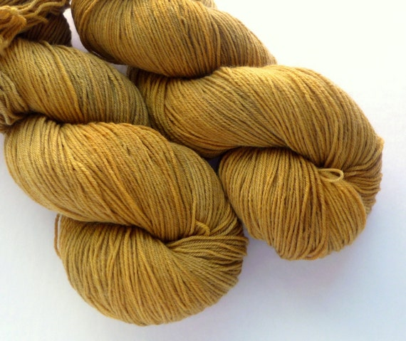 Hand Dyed Yarn - Superwash Merino / Nylon 4-ply Sock Weight in Honey Wheat Colorway