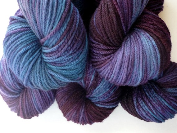 Worsted Weight Yarn - Hand Dyed Superwash Merino Wool in Royalty Colorway