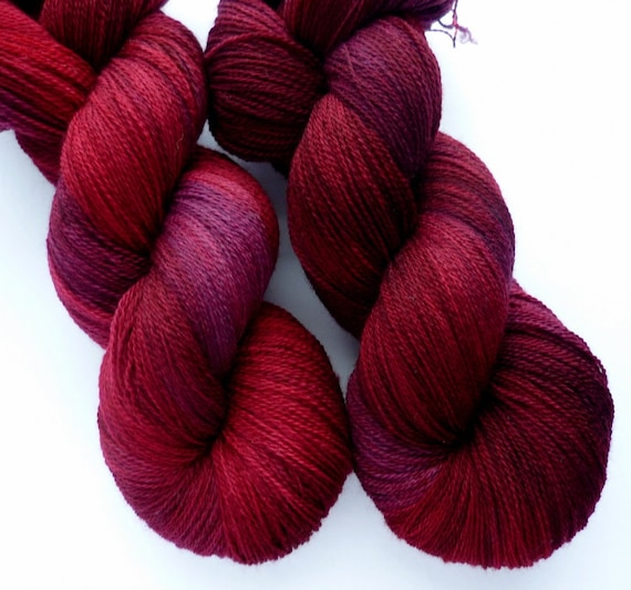 Lace Yarn - Hand Dyed Superwash Merino Lace Weight in  Cranberry Bog Colorway