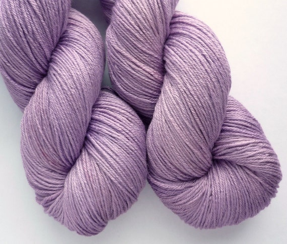 Merino Silk Yarn - Hand Dyed 50/50 Merino Silk Fingering Weight in Lilacs at Dusk Colorway