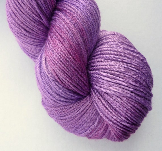Merino Silk Yarn - Hand Dyed 50/50 Merino Silk Fingering Weight in Amazon Orchid Colorway