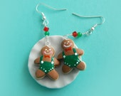 Polymer Clay Miniature Food Jewelry - Gingerbread Man Wearing Overall Holiday Earrings with Swarovski Elements glass beads