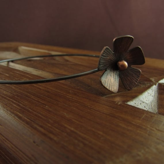 Oxidised Copper Line Texture Daisy Bangle Blank for decorating
