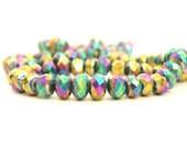 50 Rainbow Crystal Rondelle Beads 6mm