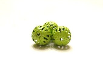 48 -  Light Green, 8 mm,  Metal, Filigree, Spacer Beads