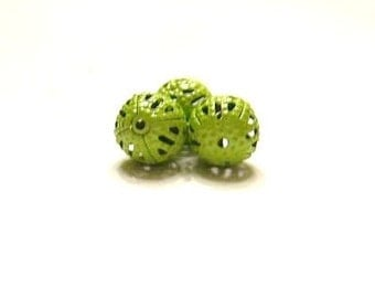 48 Light Green 8 mm Metal Filigree Spacer Beads