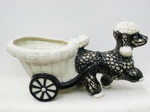 Shafford Pottery Poodle and Cart Planter . Excellent 1950's Vintage. Super Cute