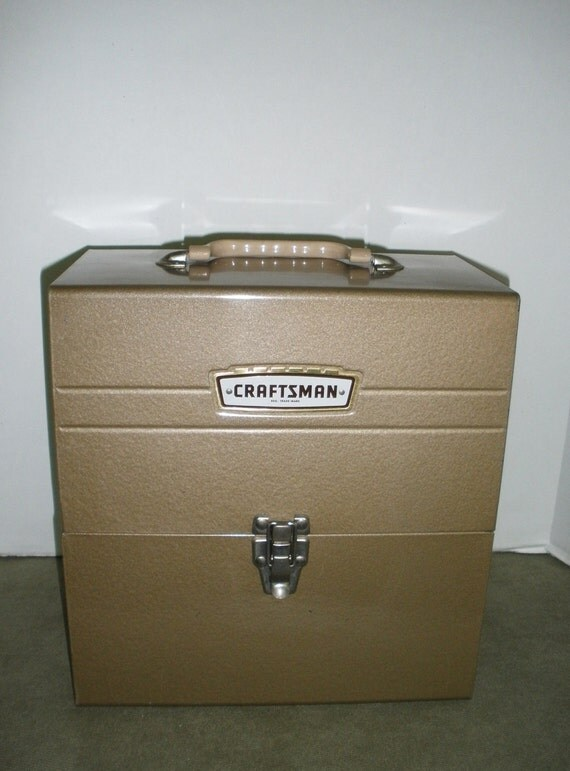 Vintage Sears and Robucks Craftsman's Tool Case . Goldtone Metal.