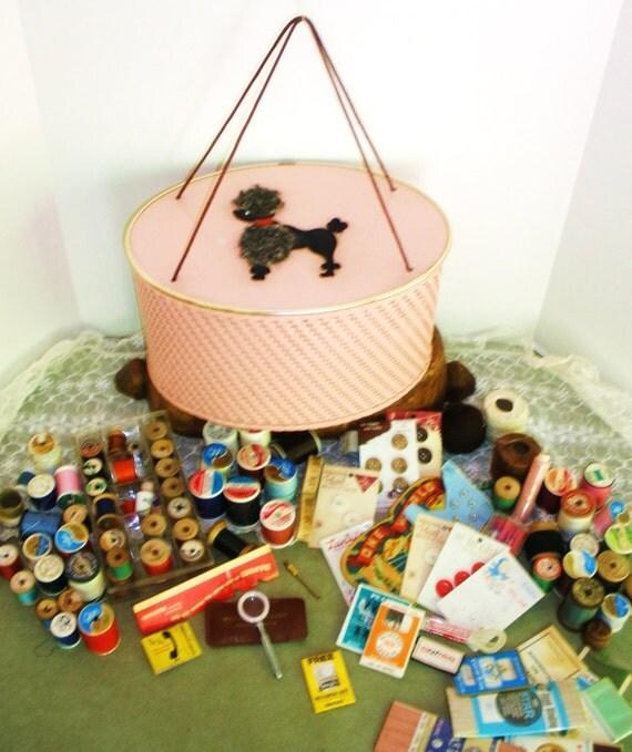 Vintage 1950's Pink Poodle Sewing Basket .. Filled with Vintage Sewing Supplies ..