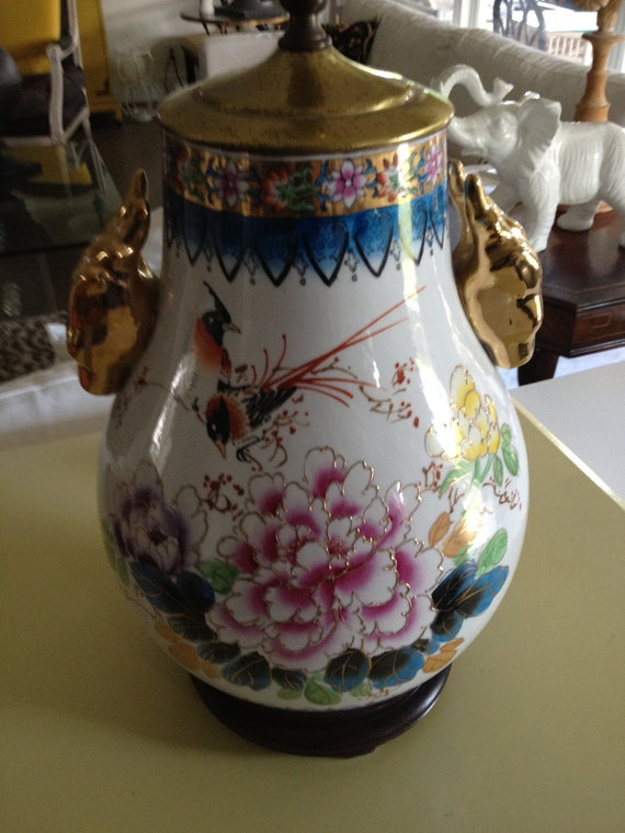 Lamp Chinoiserie blue white and gold