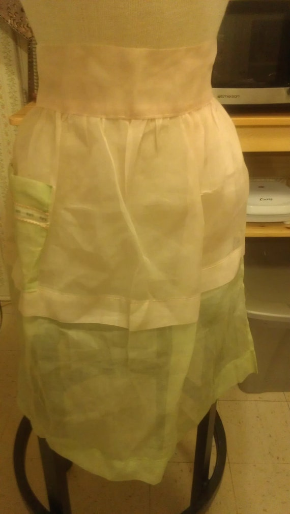 The Hostess With The Mostess - Hostess Apron Sheer Pink and Green Organza with Ribbon Pocket Detail