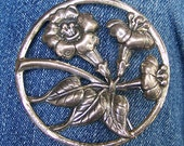"DANECRAFT sterling silver BROOCH, floral, signed, 2-3/8"" wide"