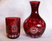Red cut to clear TUMBLE UP carafe decanter night water or guest set ox blood vintage glass wheel cut flowers
