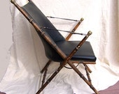 1860s English CAMPAIGN CHAIR Chinoiserie  oak leather brass faux bamboo Hollywood Regency lines Italian