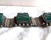 1940s Taxco sterling bracelet chunky carved green onyx beaded Mexico Mexican