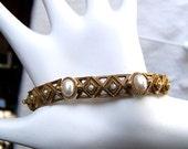 Signed Florenza bracelet elegant gold diamonds and pearls mid century vintage
