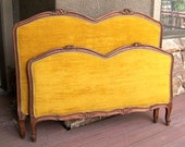Louis XVI bed French Provincial XV Hollywood Regency antique hand carved fruit wood upholstered