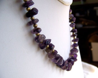 Vintage amethyst chunk necklace polished raw stones 1970s hippie boho