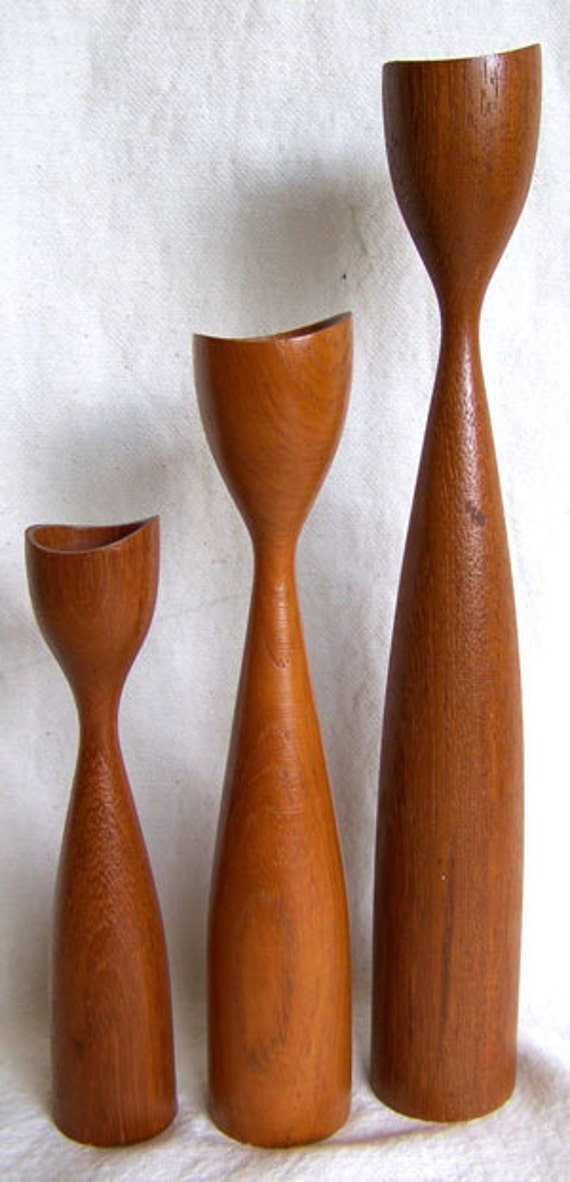 3 Danish Modern Teak Modernist Candle Holders