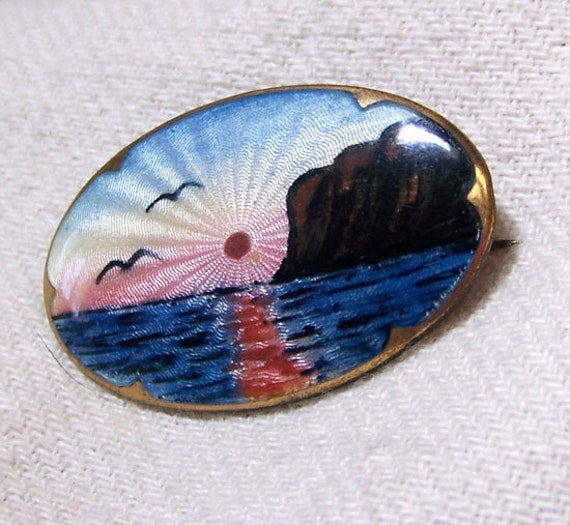 RESERVE for norwayjacqueline until 8/22: GUILLOCHE sterling brooch  ..  Vintage NORWAY scenic enamel  ..  Possibly David Anderson