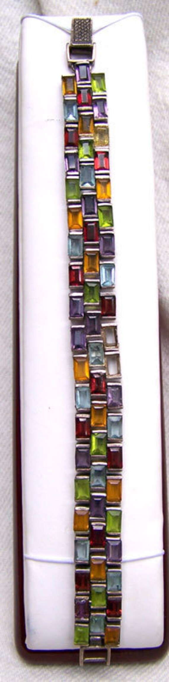 Baguette BRACELET .. Sterling Silver .. Vintage handmade multi color baguettes