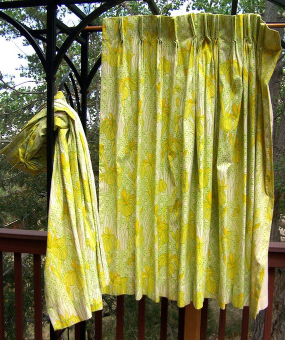 Chinoiserie DRAPES mid century Hollywood Regency yellow &