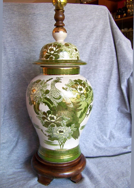 Chinoiserie Peacock Lamp Green White Amp Gold Ginger Jar Carved