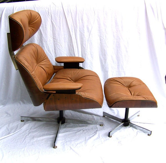 RESERVED for ruthiesayles         Eames style lounge CHAIR and OTTOMAN  Molded plywood mid century  Danish Modern