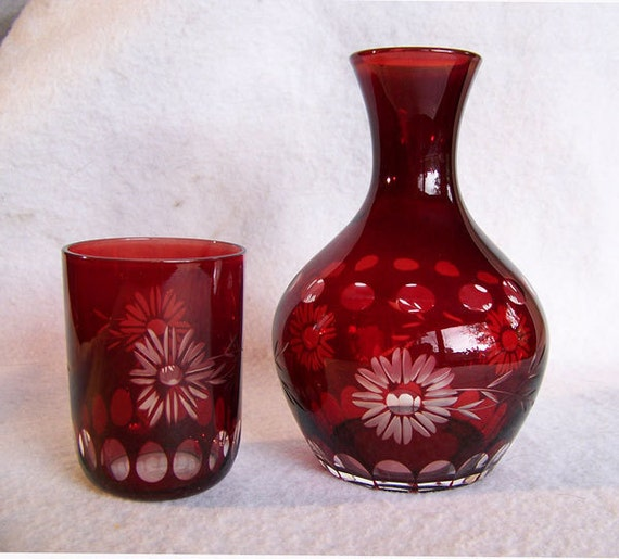 Red Cut To Clear Tumble Up Carafe Decanter Night Water Or