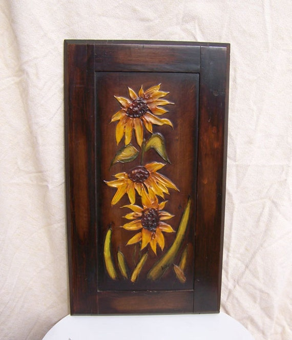 "Painted SUNFLOWERS painting vintage cabinet door signed Kathy retro 24"" high Van Gogh style thick texture AMAZING"