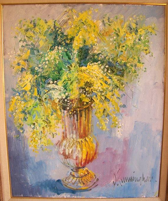 John Cunningham oil painting California artist abstract yellow flower arrangement Carmel CA artist impressionism Van Gogh style