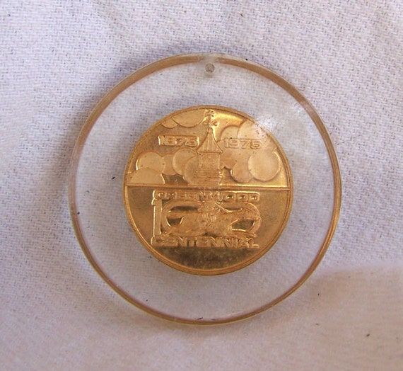 Greenwood Raceway centennial commemorative coin 100 year anniversary 1875 - 1975 gold plate