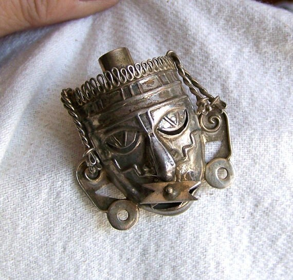 Mexico Taxco brooch sterling silver signed BGM DF tribal Aztec face with labret and earrings
