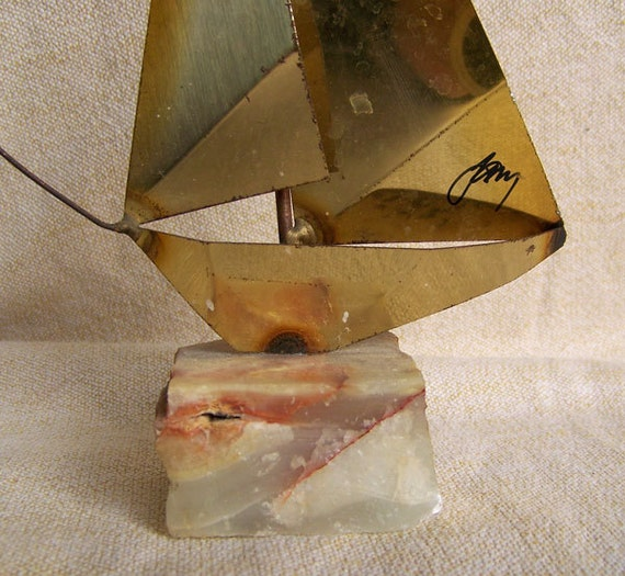 Jere era sailboat braised brass sculpture on quartz base signed brutalist 1970s decor