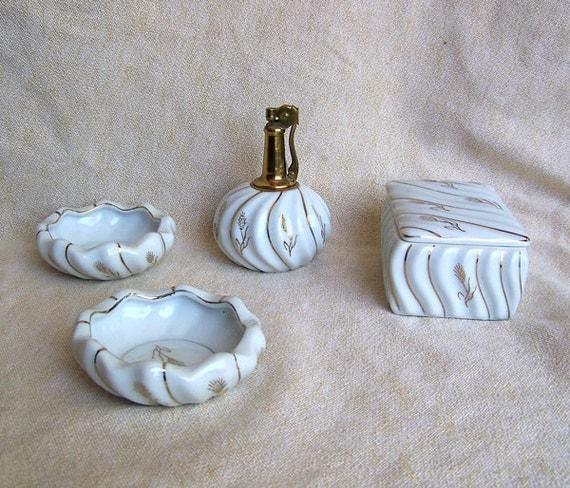 Hollywood Regency cigarette lighter smoking set 4 piece thistles white with metallic gold trim ashtrays box