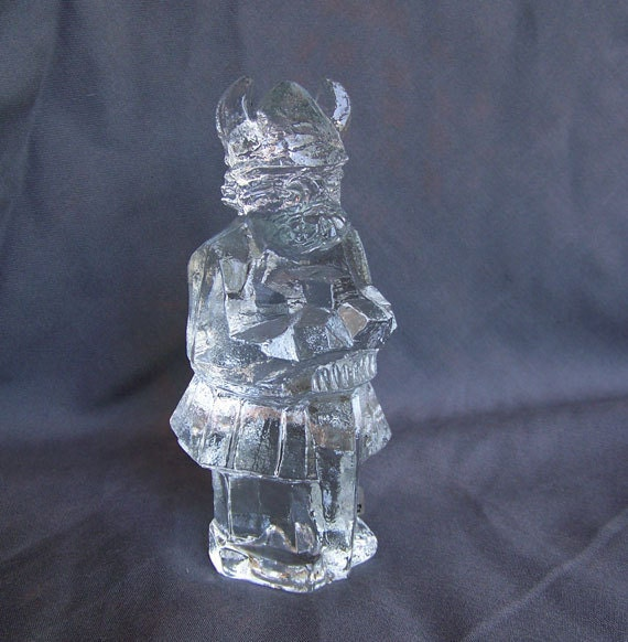 Danish Modern Pukeberg Sweden art glass Viking figurine warrior Scandinavian cracked  ice