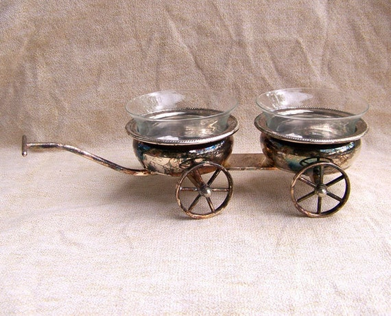 Vintage Rogers silver wine caddy wagon cart serving dish condiment holders with glass inserts