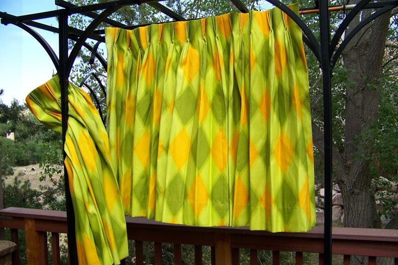 Mid Century Curtains Drapes Melon Orange And Lime Green