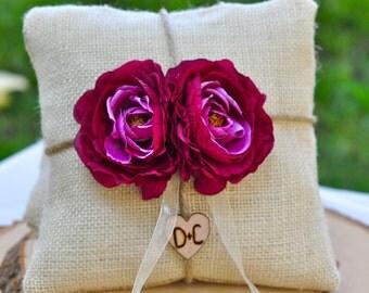 Custom Burlap ring bearer pillow You Pick Flower 10% discount promo code SPRING entire shop