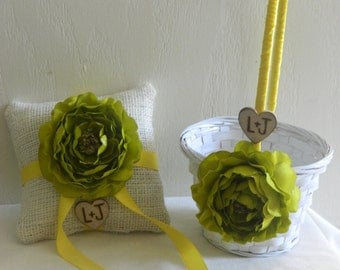 Personalized Small  Flower Girl Basket and Ring Bearer Pillow SET  You Pick Flower