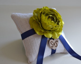 Custom Burlap ring bearer pillow You Pick Flower 10% discount promo code SPRING entire shop