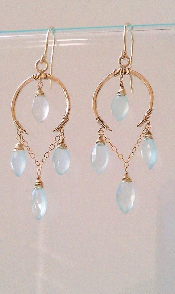 Ginger Earrings // Spring / Summer 2012 //  14K Gold fill and Aqua Chalcedony