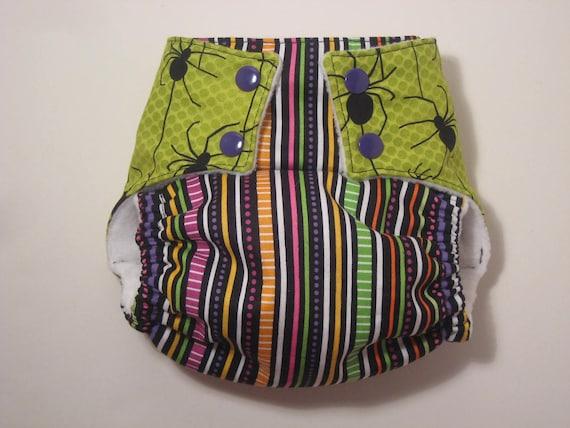 Halloween spider stripe AI2 - one size diaper